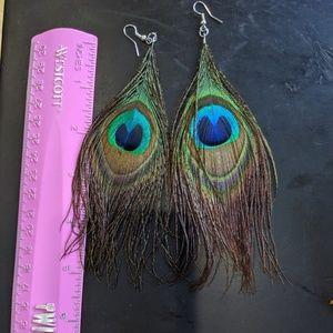 Peacock feather earrings boho